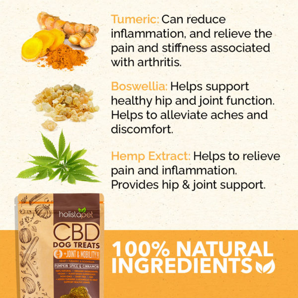 holistapet cbd dog treat list of 100% natural ingredients tumeric boswellia hemp extracts for joint and mobility formula