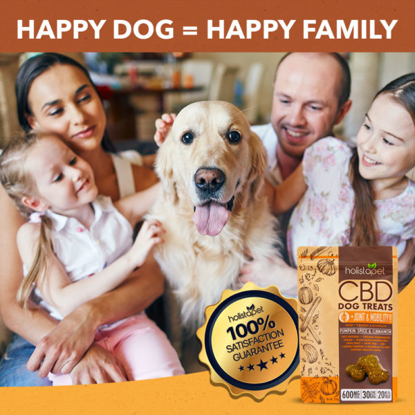cbd dog treats with happy family holistapet joint and mobility 100% satisfaction