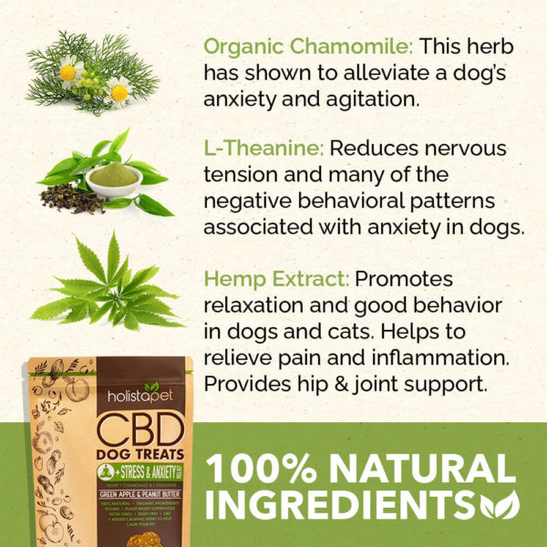 CBD Holistapet 100% Natural Ingredients Stress and Anxiety Organic Chamomile L Theanine Hemp Extract
