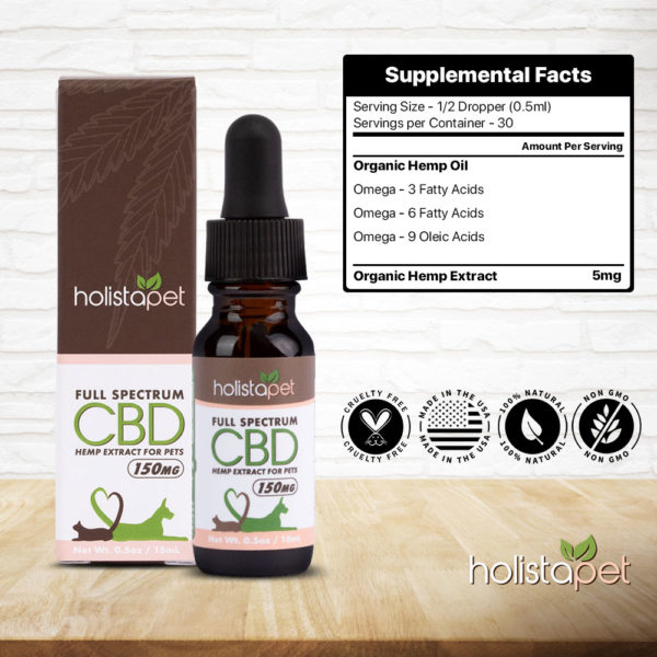 supplemental facts for holistape full spectrum cbd hemp extract for pets cats dogs omega 3 omega 6 omega 9 organic hemp extract cruelty free made in the usa 100% natural non gmo