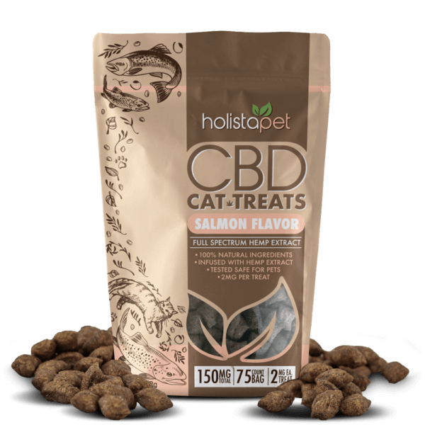 holistapet cbd cat treats with salmon treats laying out around bag