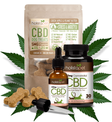 holistapet cbd tincture, cbd dog treats, and cbd capsules