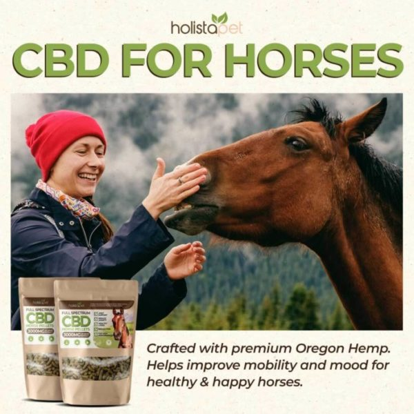 Holistapet cbd horse pellets ingredients include premium oregon hemp.Helps improve mobility and mood for healthy and happy horses.