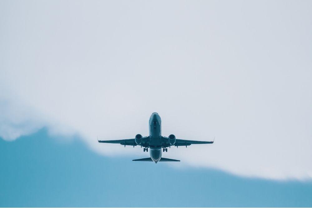 a plane takes flight